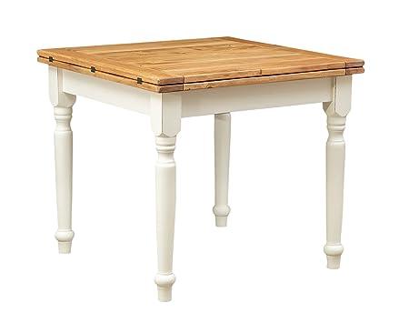 Tavolo a libro allungabile Country in legno massello di tiglio struttura  bianca anticata piano naturale 90x90x80 cm
