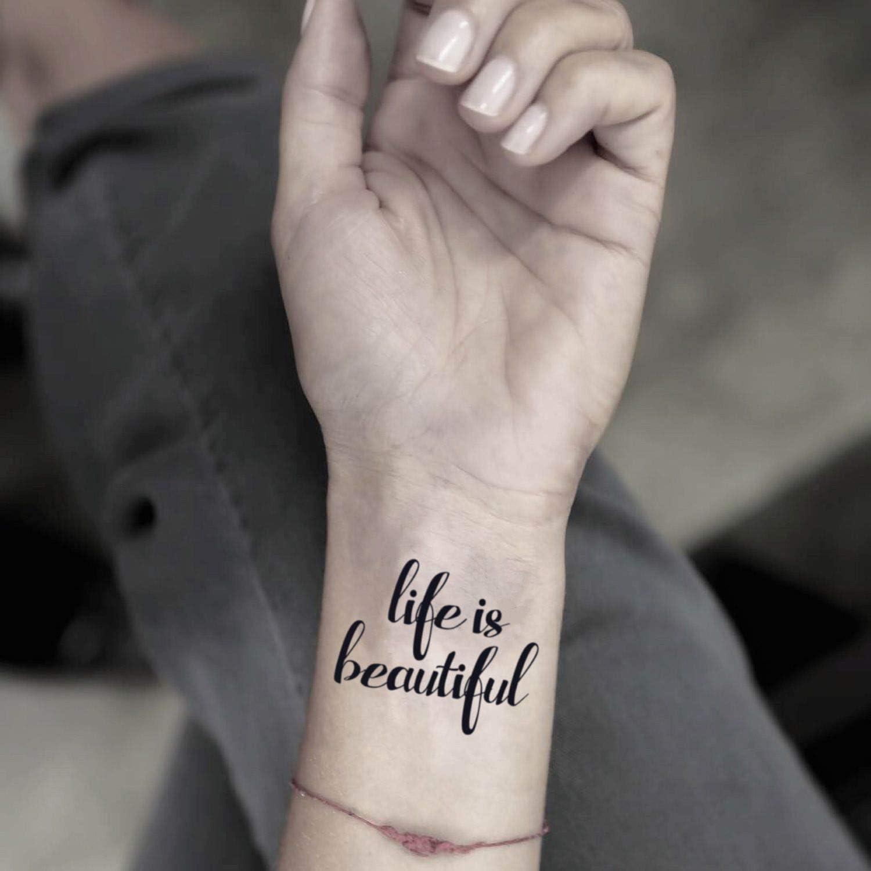 Tatuaje Temporal de La vida es bella (2 Piezas) - www.ohmytat.com ...
