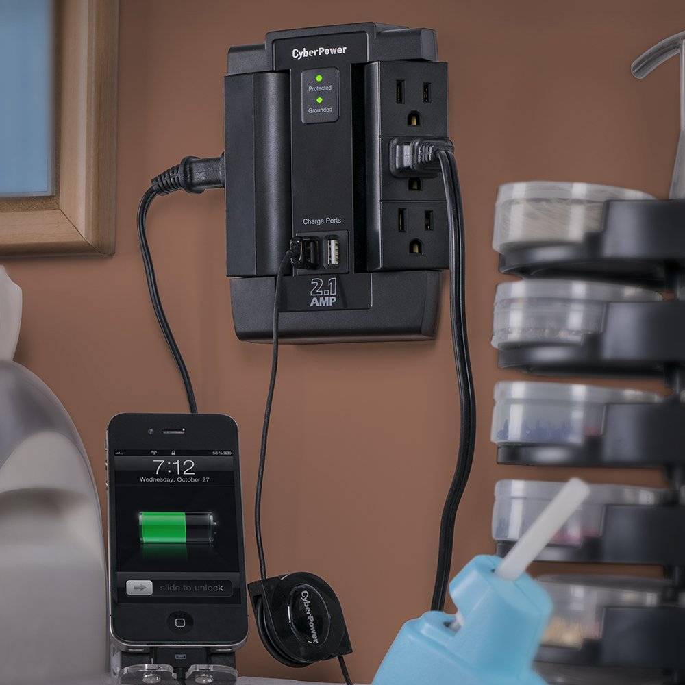 CyberPower CSP600WSU Surge Protector, 1200J/125V, 6 Swivel Outlets, 2 USB Charging Ports, Wall Tap Design by CyberPower (Image #4)