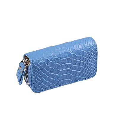 Llaves Piel Genuino Clave del Coche Titular de la Caja Monedero de la Carpeta Monedero de Llavero Cartera Doble Cremallera 6+1 Hooks 12 x 6.5cm Key ...