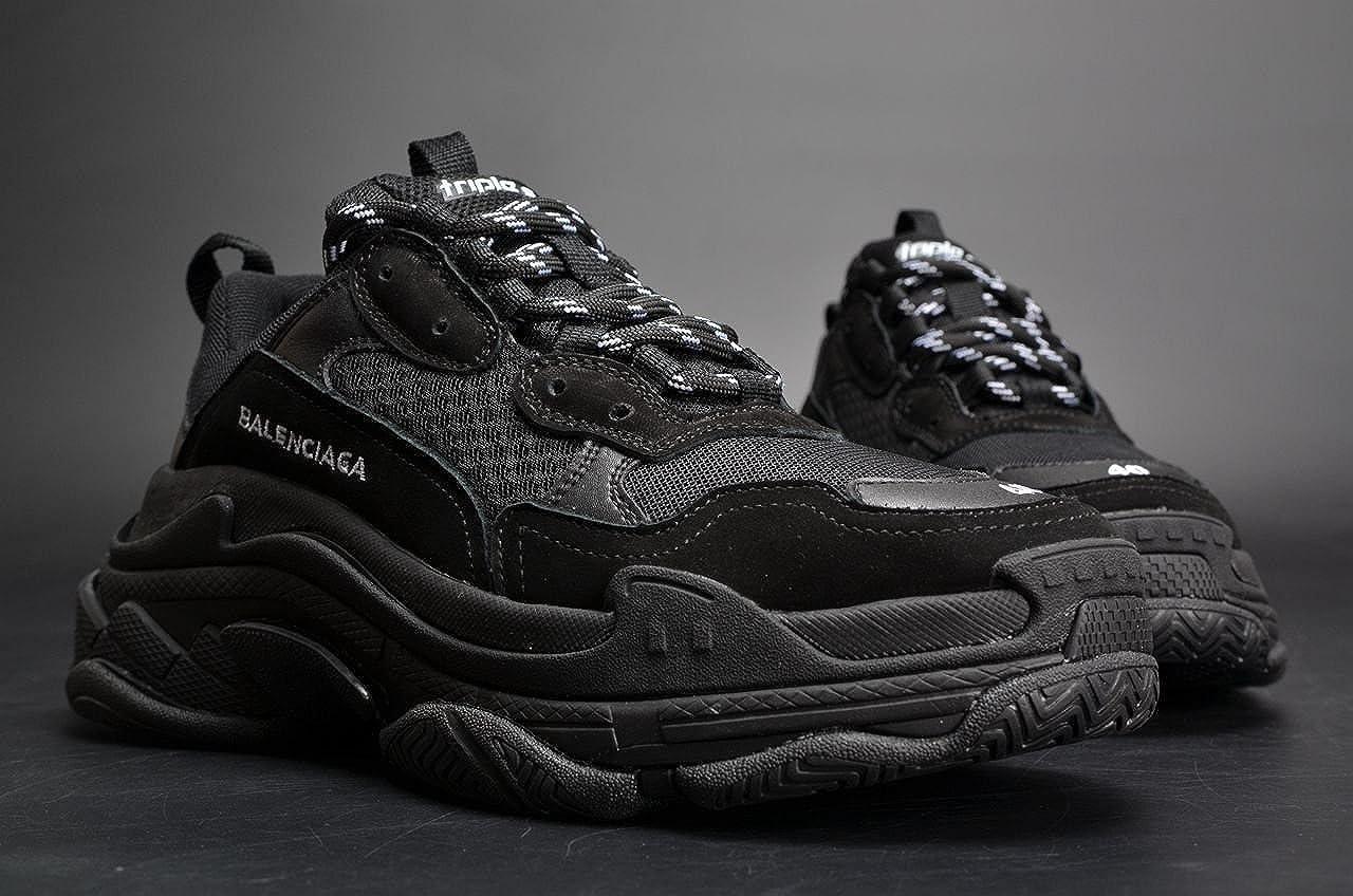 d020c838e TOPSHOD Unisex Mens Womens Balenciaga Triple S Sneakers All Black: Amazon.co .uk: Shoes & Bags