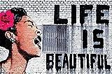 GREAT ART Wall Decoration Banksy Art - Life is Beautiful Wallpaper Street Artist Mural Modern Paintings Women Grey Stensils Poster (55 Inch x 39.4 Inch)