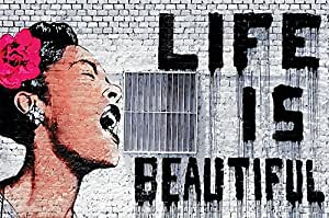"""Banksy - """"Life is beautiful"""" Wall paper - - Life is beautiful mural - Banksy Street-art wall decoration by Great Art 82.7 Inch x 55 Inch"""