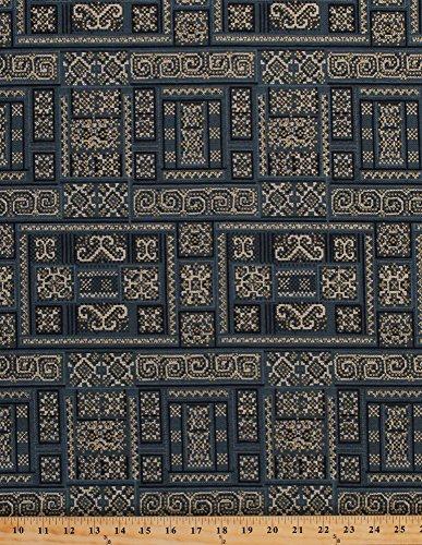 Cotton Hoffman Challenge 2015 Mandalay Squares Blocks Scrolls Indigo Gold Persian Cotton Fabric Print by the Yard (m7408-68.9) ()
