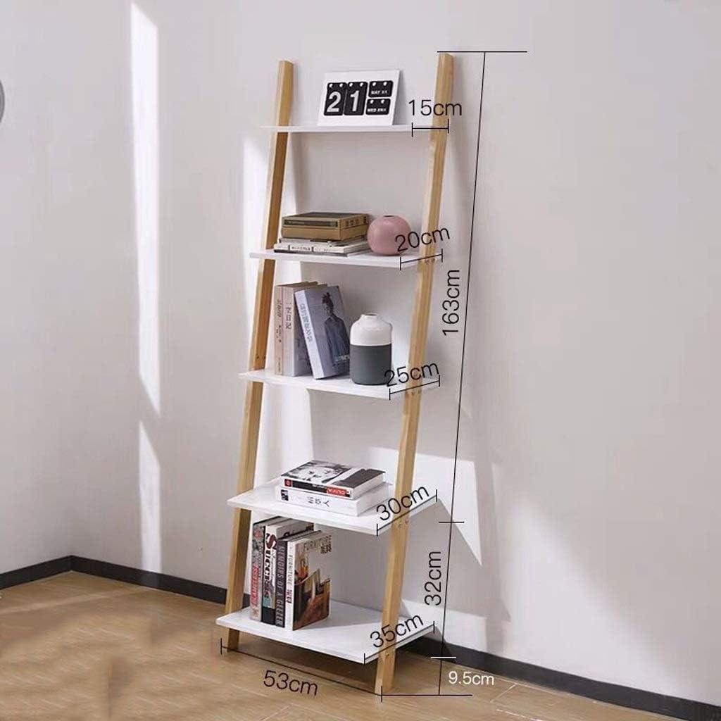 Zyj-Bookshelf Estantería de Escalera de Madera Maciza de Estilo nórdico Estantería de Pared Blanca Sala de Estar Estante de Almacenamiento de Piso Estante de Almacenamiento de Puerta de Dormitorio: Amazon.es: Hogar