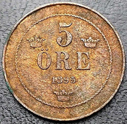 Unbranded SWEDEN: 1895 5 ORE BRONZE COIN, KM# 757 (Coin Bronze Ore)