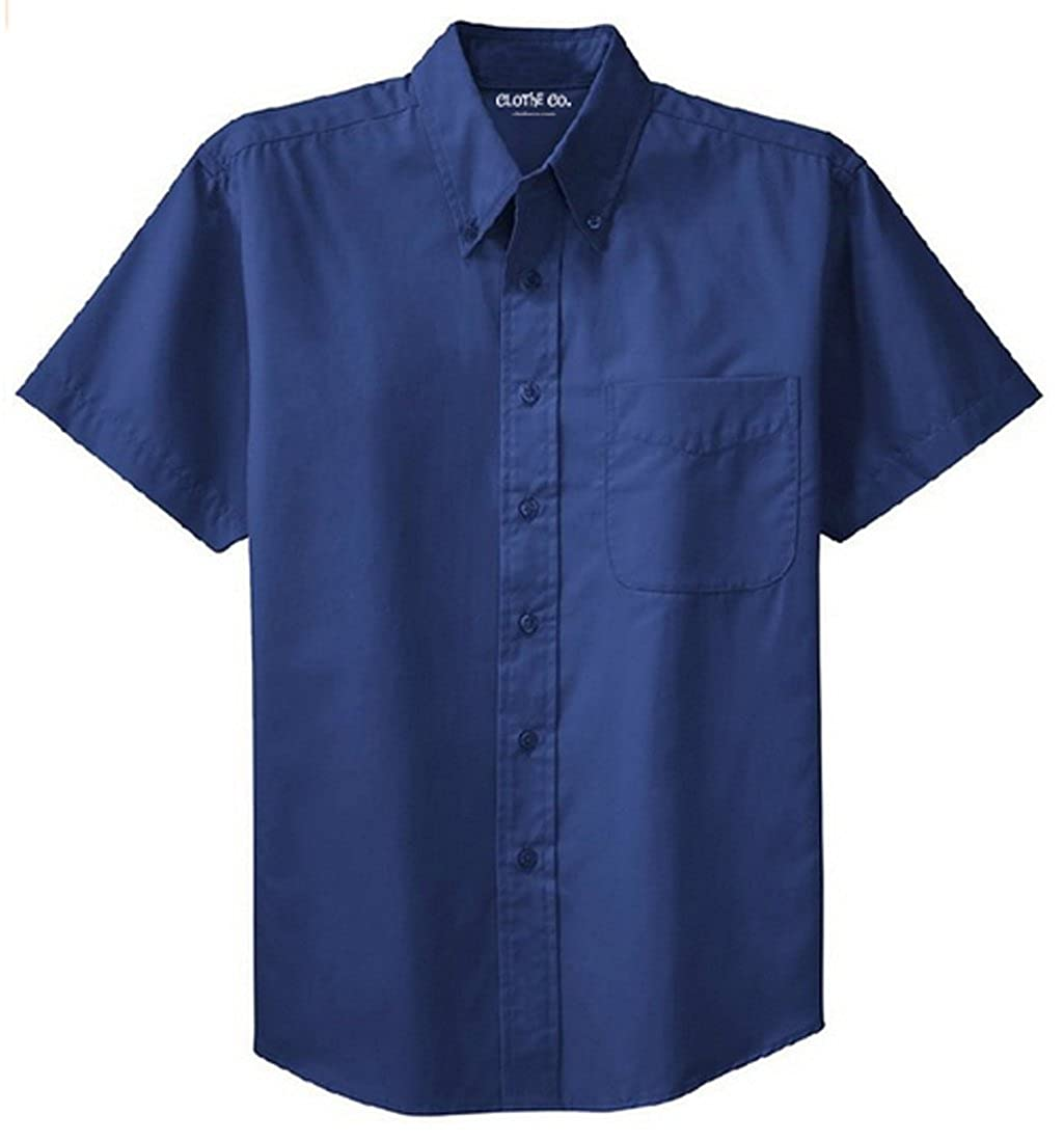 Mens Short Sleeve Wrinkle Resistant Easy Care Button Up Shirt Clothe Co