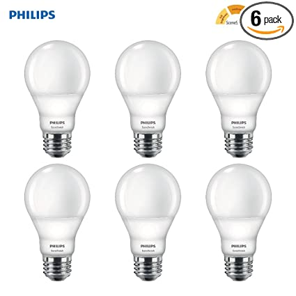 Philips Led A19 Sceneswitch Soft White 3 Setting Light Bulb With Warm Glow Effect Bright Medium Low 60 Watt Equivalent E26 Base 6 Pack