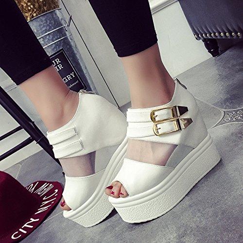 KHSKX-Waterproof Shoes Thick Spring Bottom Waterproof High Heels Sandals Shoes Sponge Gauze Female White Wedges Thirty-seven bRktYX