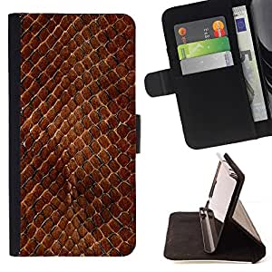 - Snake Skin Pattern Brown Scales Reptile Art/ Personalized Design Custom Style PU Leather Case Wallet Flip Stand - Cao - For LG Volt 2 / LG G4 Mini (G4c)