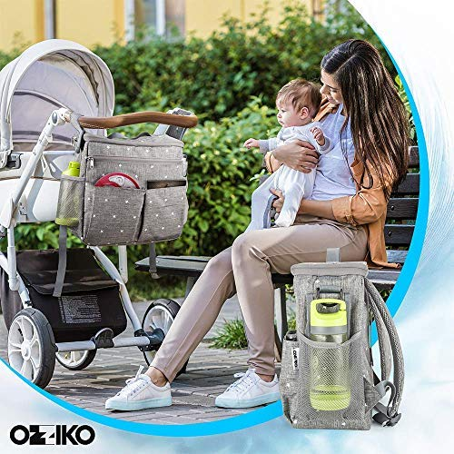 Parents Stroller Organizer Bag - Fits All Baby Stroller Models. Travel Bag with Shoulder Strap for Carrying Bottles, Diapers, Toys & Snacks. Insulated Cooling System, Cup Holder & Storage Pockets by Ozziko (Image #1)