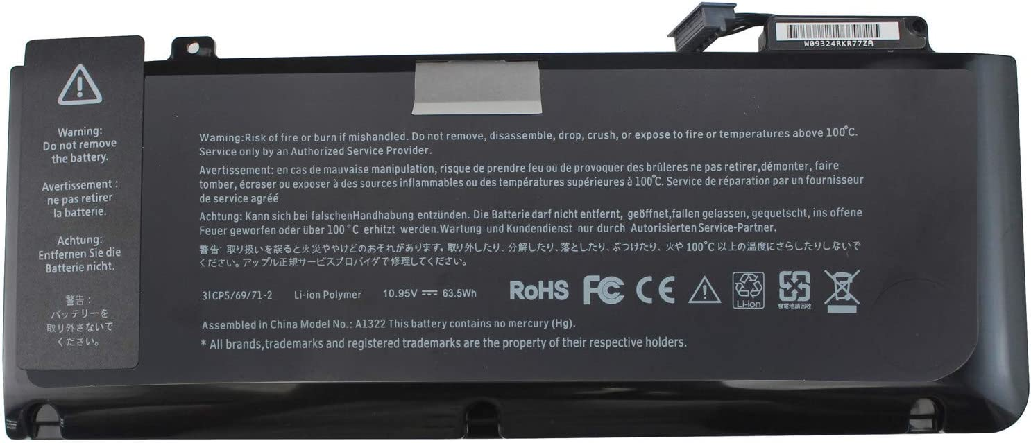 LNOCCIY New Laptop Battery for Apple Pro13 A1322 A1278 Mid 2009/2010/2011 63.5W MB990LL/A MB991ll/A MC374ll/A MC375LL/A MC700ll/A MD101LL/A MD102LL/A