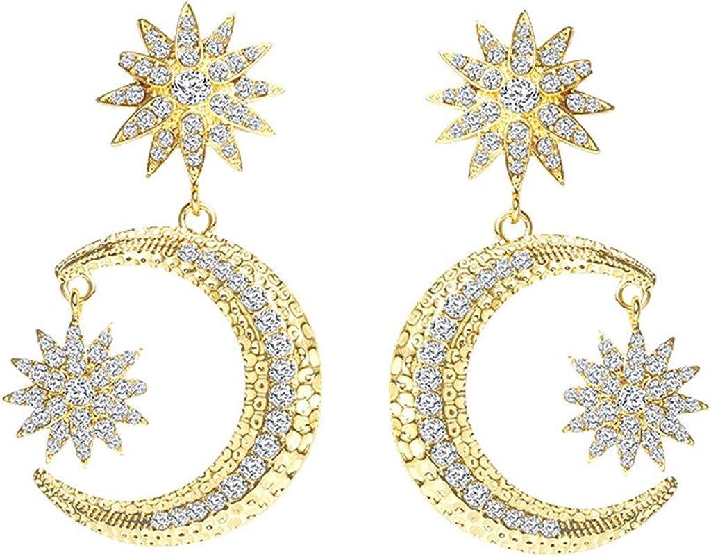 Hogadget Women Bohemia Earrings Fashion Heart Pearl Circle Ear Clip Dangle Drop Earrings Jewelry