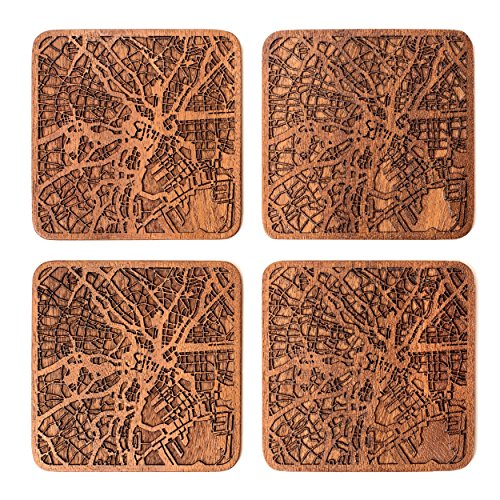Tokyo Map Coaster by O3 Design Studio, Set Of 4, Sapele Wooden Coaster With City Map, Handmade