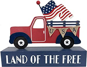 HOMirable Patriotic Decor American Flag Truck Box Sign Memorial Day Decoration Home Wood Sign 4th of July Farmhouse Block Independence Day Table Decor Land of The Free
