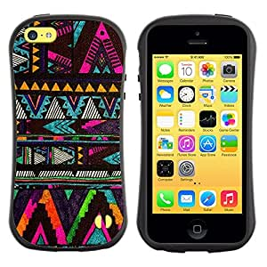 Suave TPU GEL Carcasa Funda Silicona Blando Estuche Caso de protección (para) Apple Iphone 5C / CECELL Phone case / / chevron native American pattern black /