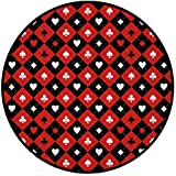 Printing Round Rug,Poker Tournament Decorations,Card Suit Chess Board Classic Checkered Pattern Symbols Decorative Mat Non-Slip Soft Entrance Mat Door Floor Rug Area Rug For Chair Living Room,Red Blac