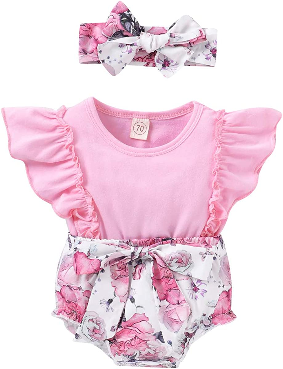 Baby Girl Bodysuit Short Sleeve Flowers Romper Lace Jumpsuit  Outfits Clothes