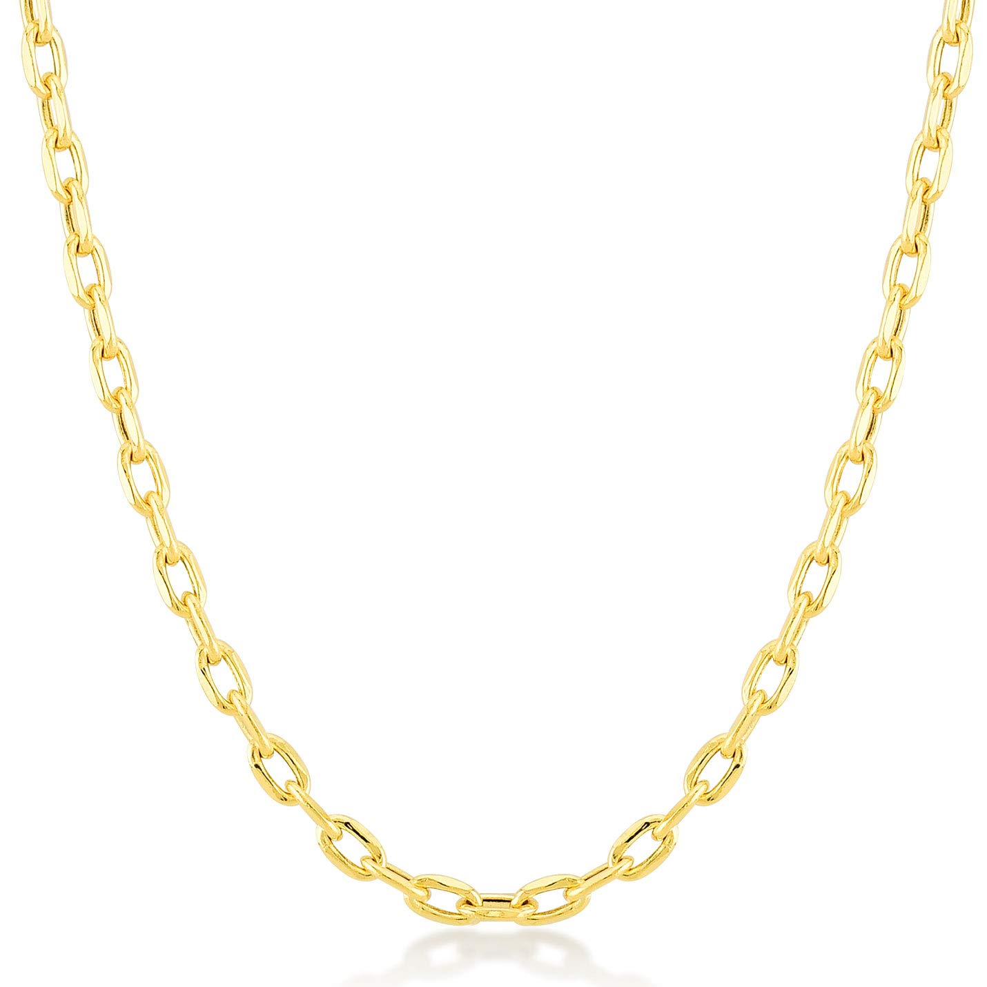 Gelin 14k Real Gold 1.0 mm Forzentina Cable Chain for Women and Men, Fine Jewellery Birthday Gift for Her/Him, 18 inch