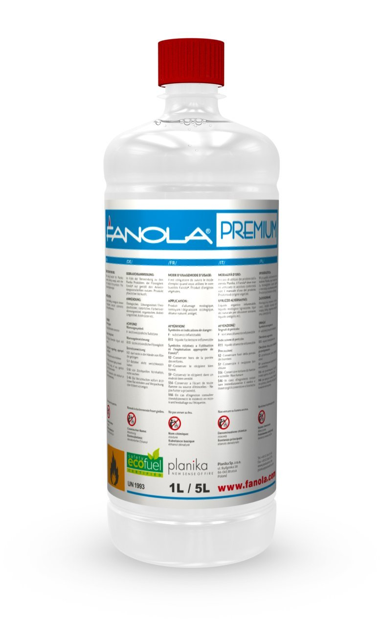 planika fanola –  96, 6% IGES bioetanol en Botellas de 1 litro: 12 l 6% IGES bioetanol en Botellas de 1litro: 12l