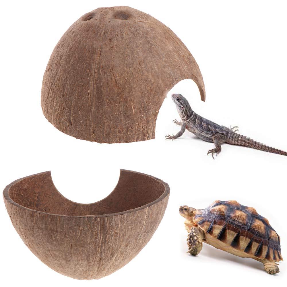 PIVBY Coconut Reptile Hideouts,Hermit Crab hut Natural Coco Hut Lizard, Spider Snail Climber and Aquarium Fish Hide Cave (2 Packs)