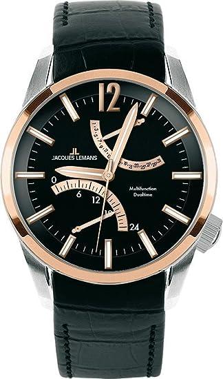 JACQUES LEMANS Liverpool GMT 1-1583E - Reloj de cuarzo para hombre, correa de