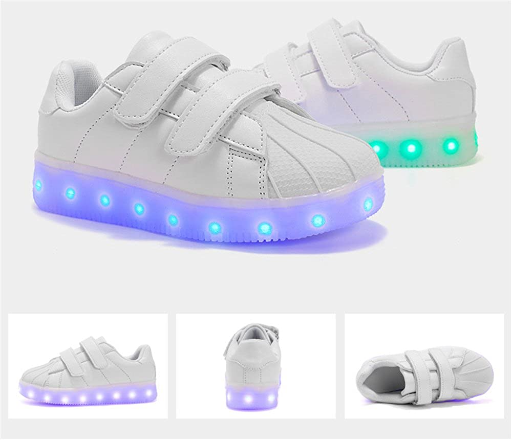coollight Light up Shoes for Kids White LED Sneakers Flashing Running Shoes
