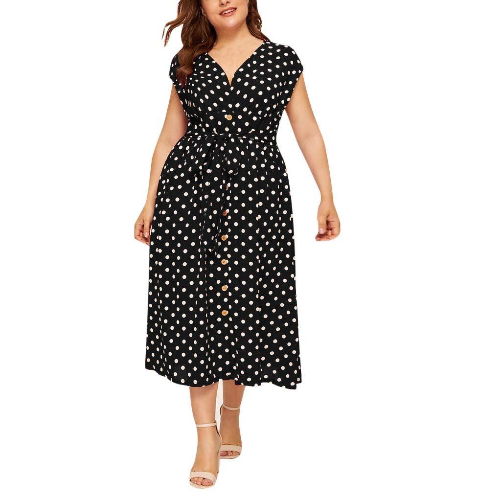 TOTOD Women's Dress Plus Size Casual Elegant V-Neck Sleeveless Polka Dot Printed High Waisted Button Belt Dresses Black
