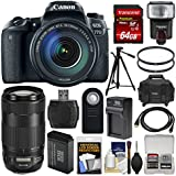 Canon EOS 77D Wi-Fi Digital SLR Camera & EF-S 18-135mm with 70-300mm IS USM Lens + 64GB Card + Case + Flash + Battery & Charger + Tripod + Filters Kit