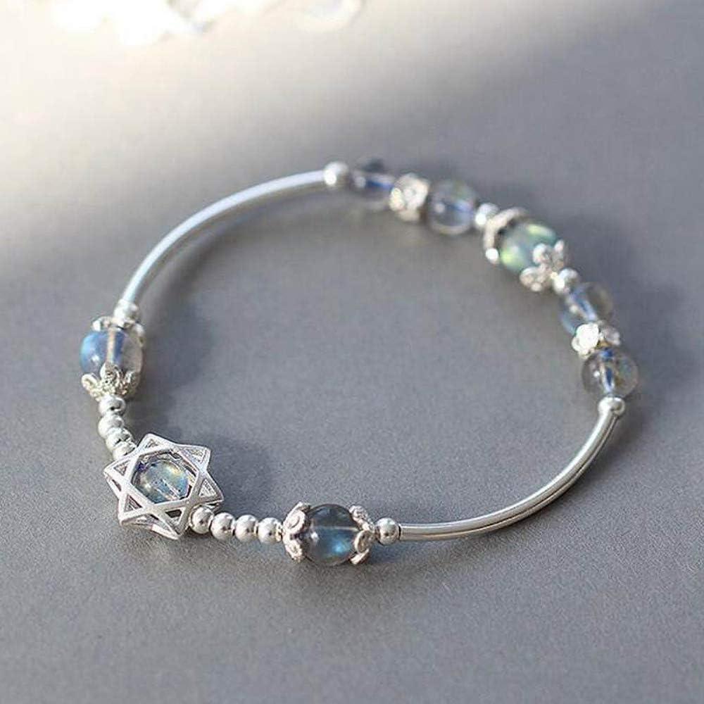 Pulsera de plata de ley 925 con amuleto de la suerte para mujer, labradorita, piedra lunar azul