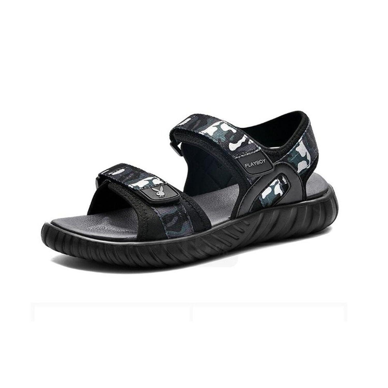 Sandalias De Los Hombres Los Deportes Casuales De Los Hombres De Los Zapatos De La Playa Tendencia De Verano Sandalias De Los Hombres De Estilo Transpirable De Camuflaje Sandalias Planas Negro