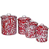 Enamelware 4 Piece Canister Set - Red Marble