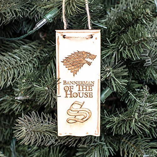 Ornament - Bannerman of the House Stark - Raw Wood 2x5in