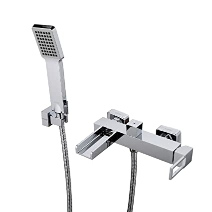 GAPPO Modern Single Handle Wall Mounted Waterfall Bath Tub Faucets With Hand  Shower