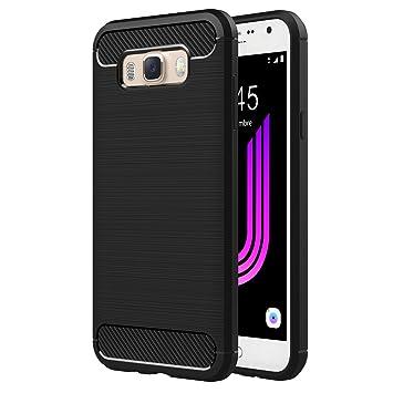 AICEK Funda Samsung Galaxy J7 2016, Samsung J7 2016 J710F/J710FN Funda Negro Gel de Silicona Galaxy J7 Carcasa Fibra de Carbono Funda para Samsung J7 ...