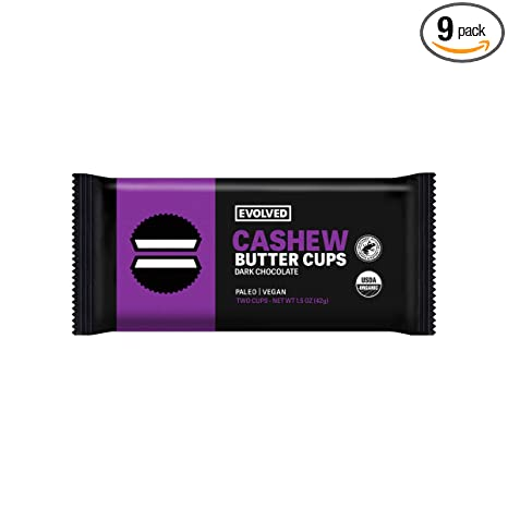 EVOLVED Chocolate Cashew Butter Cups, 1.4-oz. 2 Packs (Count of 9)