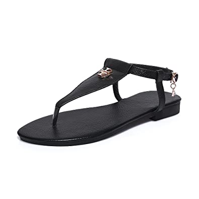81cee724838d VogueZone009 Women s Solid Cow Leather No Heel Split Toe Buckle Flip-Flop- Sandals