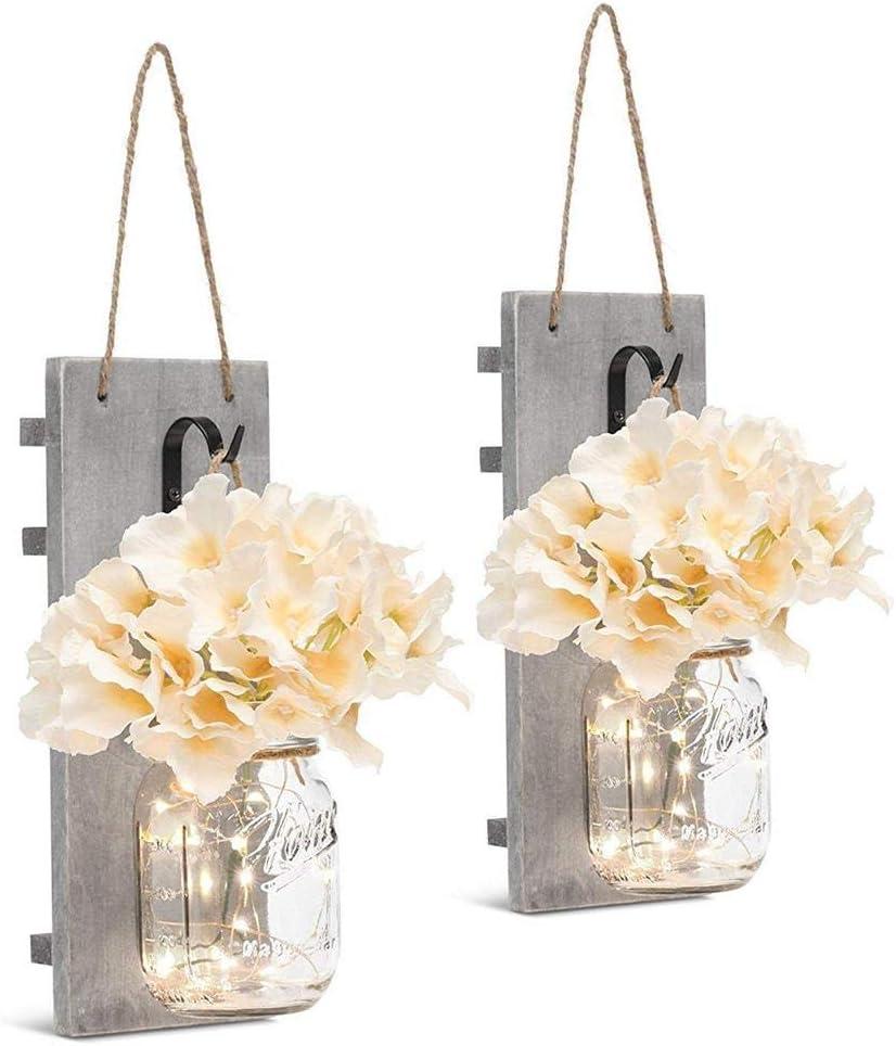 Kitabetty Luces de Hadas LED, Ganchos de Hierro Forjado Vintage, Flor de Hortensia de Seda Diseño de Luces de Tira LED decoración de la Cocina para el hogar 2PCS