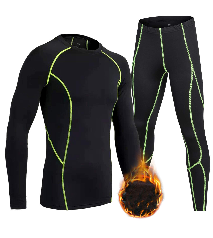 LNJLVI Boys Girls Thermal Underwear Set Long Sleeve Shirt Base Layer Tops and Pant 2 Pcs(Green Fleece Lined,14) by LNJLVI