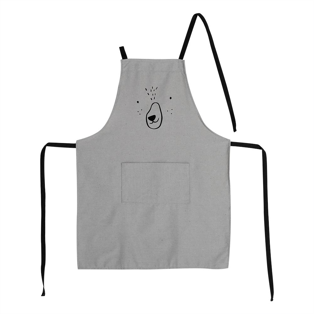 DEWIN Aprons - Chefs Cotton Apron with a Big Pocket for Cooking, Catering,BBQ (Color : Gray)