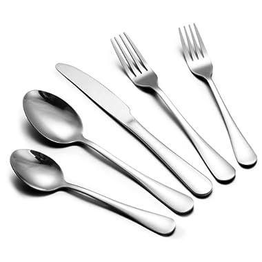 50 Pieces Silverware Cutlery Set - Stainless Steel Flatware Utensil Set with Knives Forks Spoons for Dinner & Dessert, Footek Elegant Tableware Cutlery Set, Dishwasher Safe