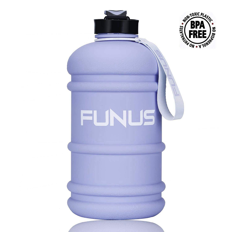FUNUS Big Water Bottle 1.3L-2.2L Large Water Bottle BPA Free Leak Proof Reusable Odorless Big Capacity Water Jug for Men Women Fitness Gym Outdoor Climbing Gym Water Bottle (2.2L Matte Crocus Petal) by FUNUS