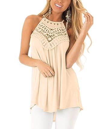 d23b8f3b0c40 Cnifo Womens Summer Casual Sleeveless Tops Lace Flowy Loose Shirts Beige S