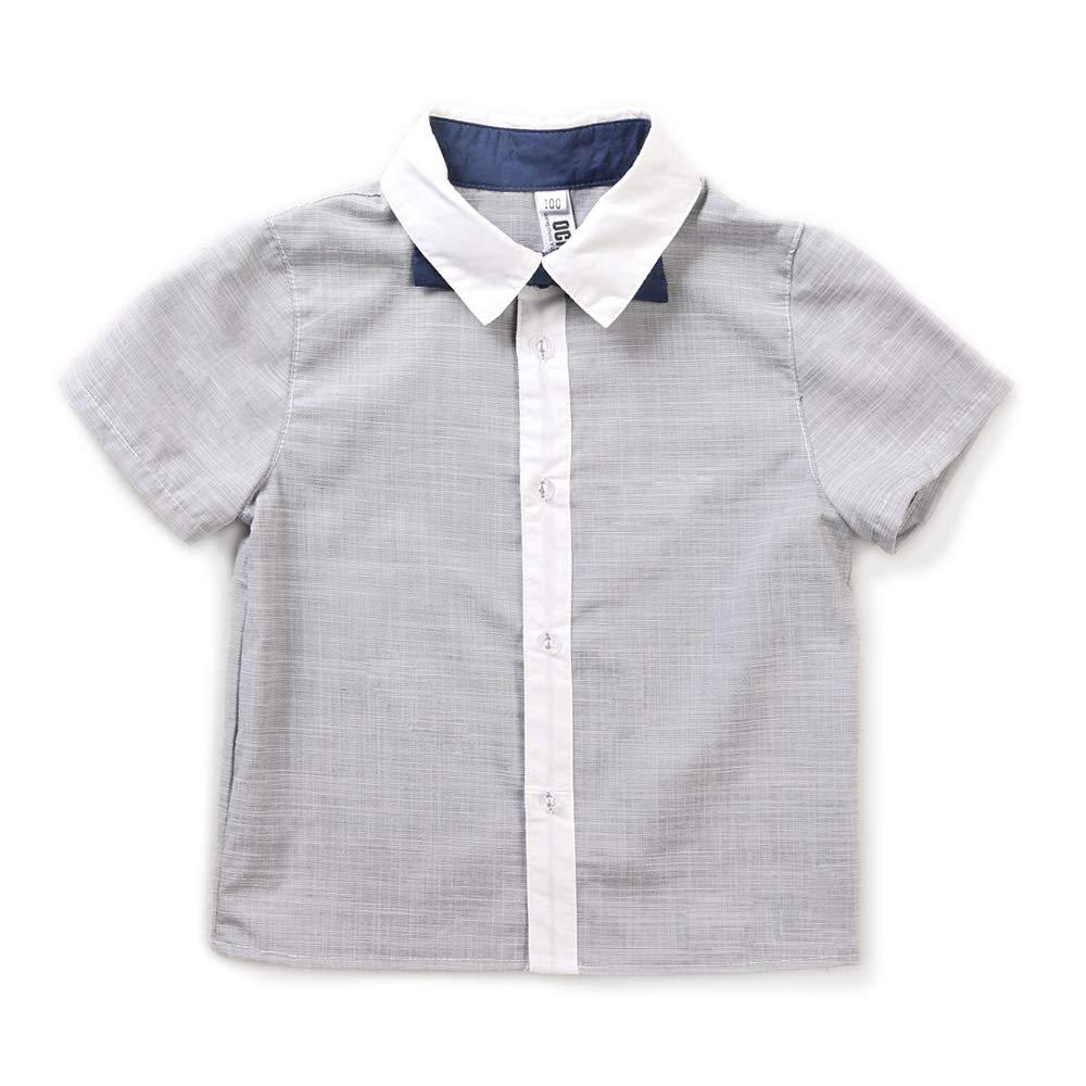 Boys Short Sleeve Button Down Cotton Shirt Dress Shirt