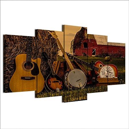 Gbwzz HD Impreso 5 Piezas Arte de la Lona Pintura de Guitarra ...