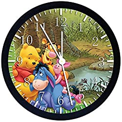 Winnie The Pooh Black Frame Wall Clock X02 Nice For Gift or Office Home Wall Decor 10