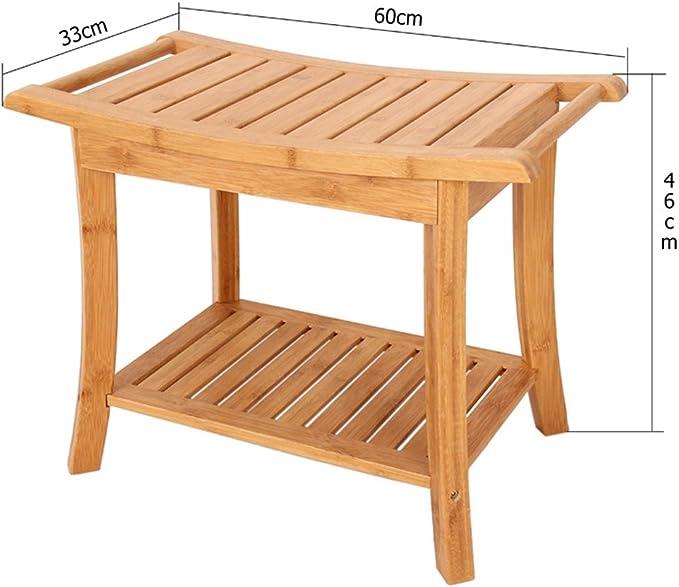 Taburete de ducha de bamb/ú taburete de ba/ño antideslizante con caja de almacenamiento y cajas de jab/ón ergon/ómico,Brown