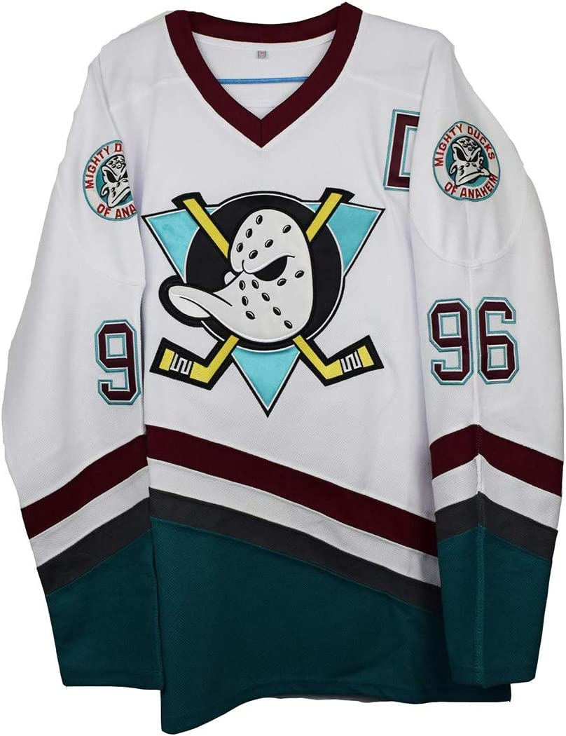 Gmjay Charlie Conway #96 Mighty Ducks Ice Hockey Jersey Movie Hockey White Stitched Letters Numbers S-XXXL