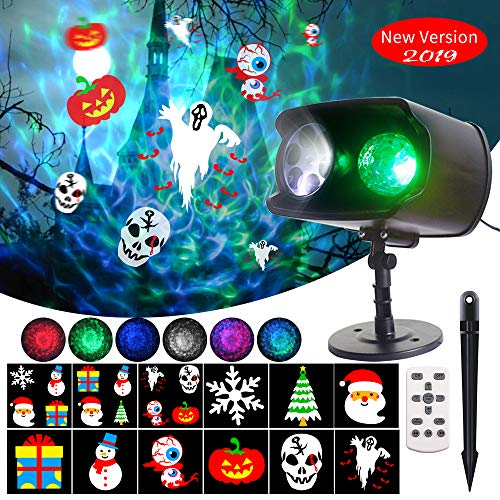 DreiWasser Projector Lights 2 in 1, Ocean Wave Projector with 12 Themes Designs for Halloween, Christmas and New Year Indoor Outdoor IP65