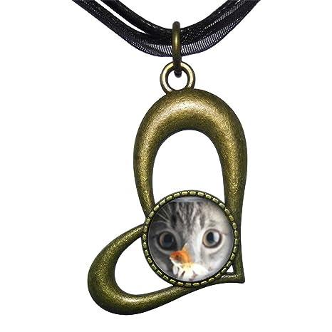 Bronce GiftJewelryShop estilo Retro pecera y gato hueco amor corazón redondo encanto colgante collar